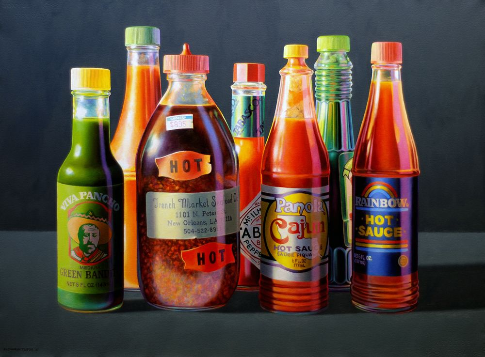Seven Sauces.  Oil on Paper. By Glennray Tutor