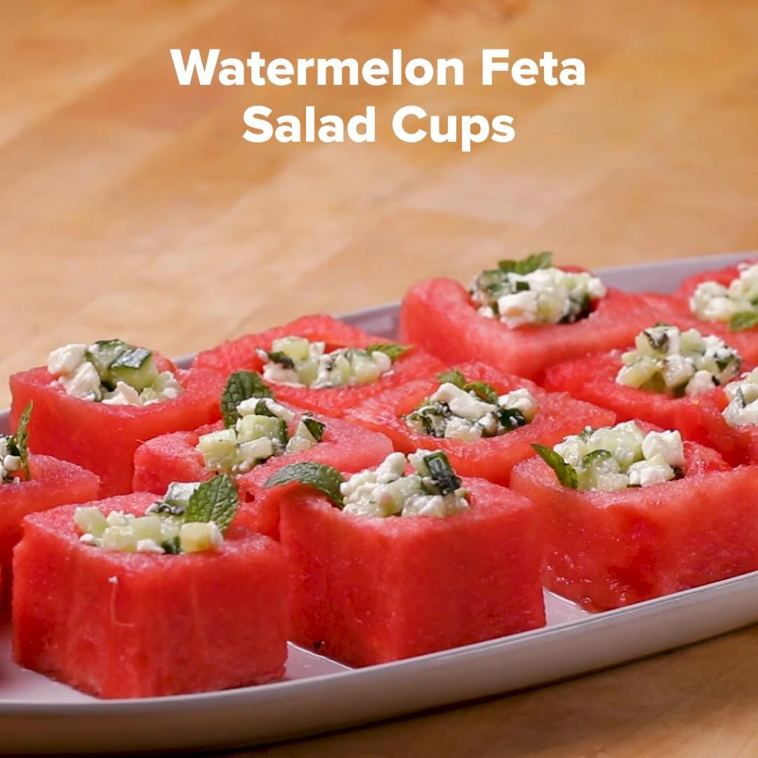 Watermelon Feta Salad Cups #appetizersforparty