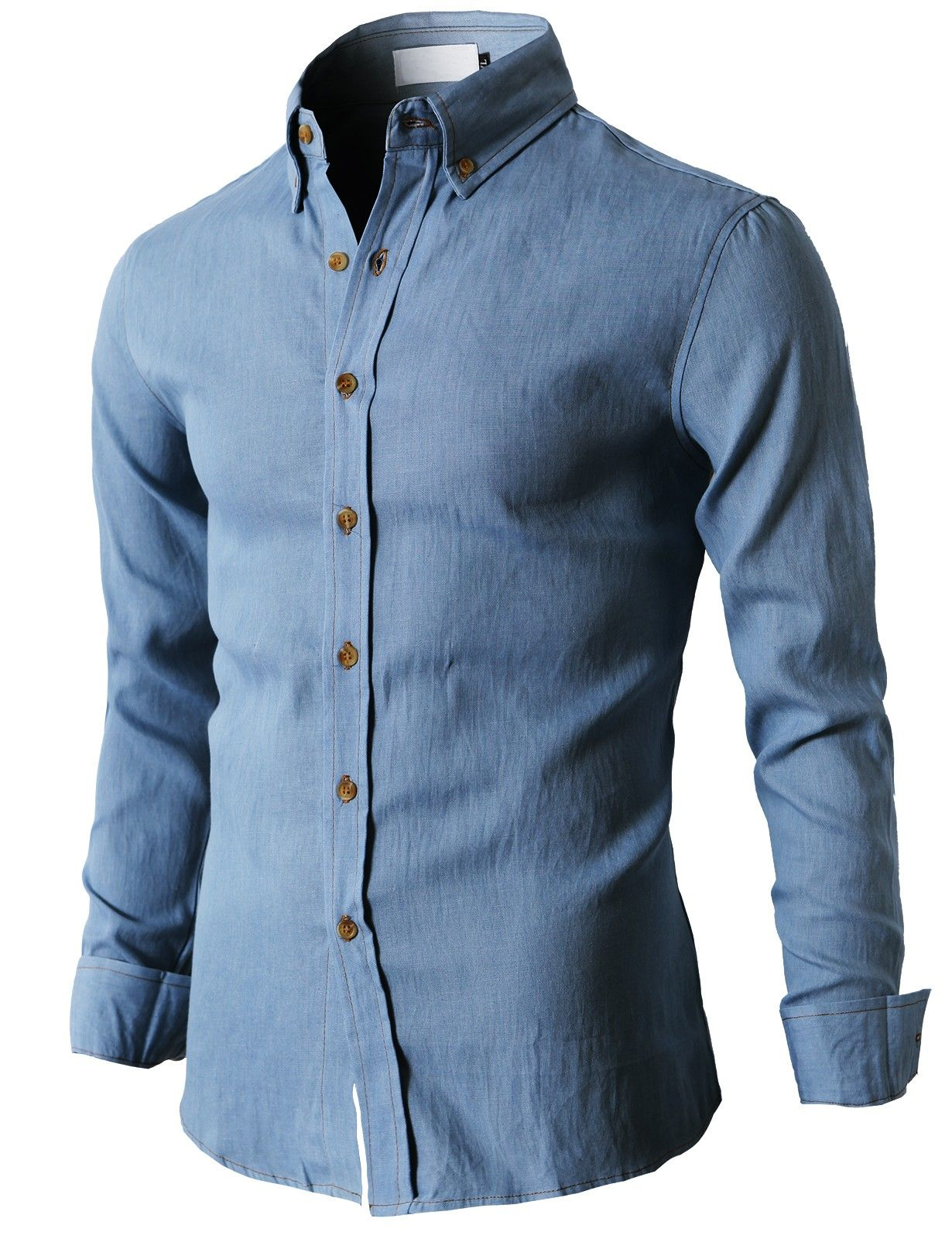 Mens Classic Washing Denim Shirt With Button Details On Collar ...