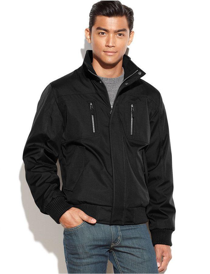 e4d98c1868 $69, Black Bomber Jacket: Calvin Klein Full Zip Ripstop Bomber Jacket. Sold  by