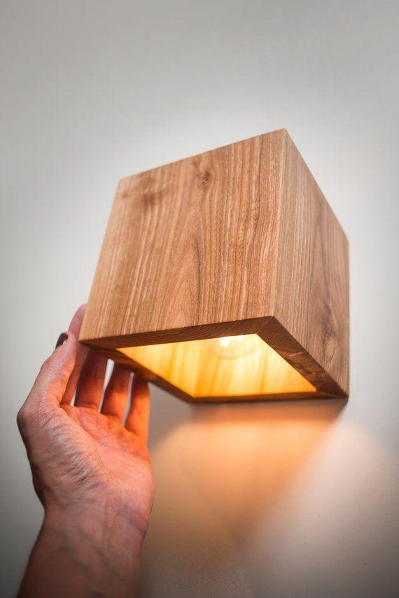 wood lamp Q264 handmade. wall lamp. wooden lamp. sconce