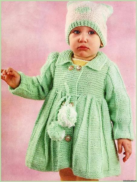 вязаное пальто спицами со схемами девочке 1 год вязание детское