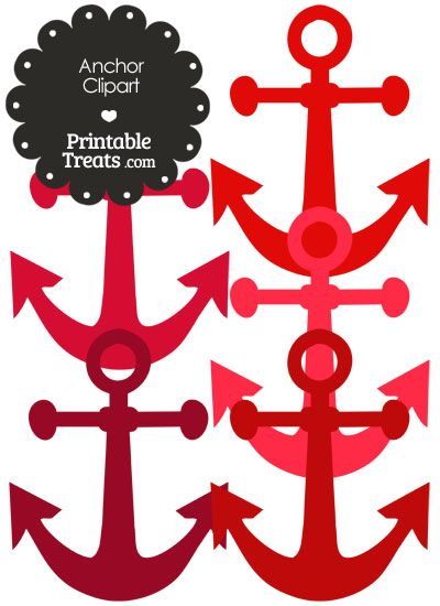 Anchor Clipart In Shades Of Red From PrintableTreats