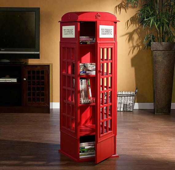 About This Listing Retro British London Style Red Telephone Booth Home Decor