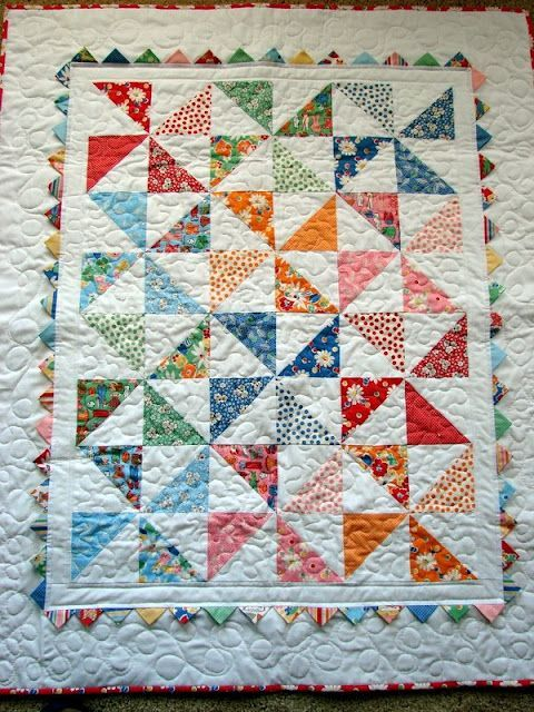 Pinwheel Baby Quilt - used a charm pack of Snippets by American ... : pinwheel quilt - Adamdwight.com