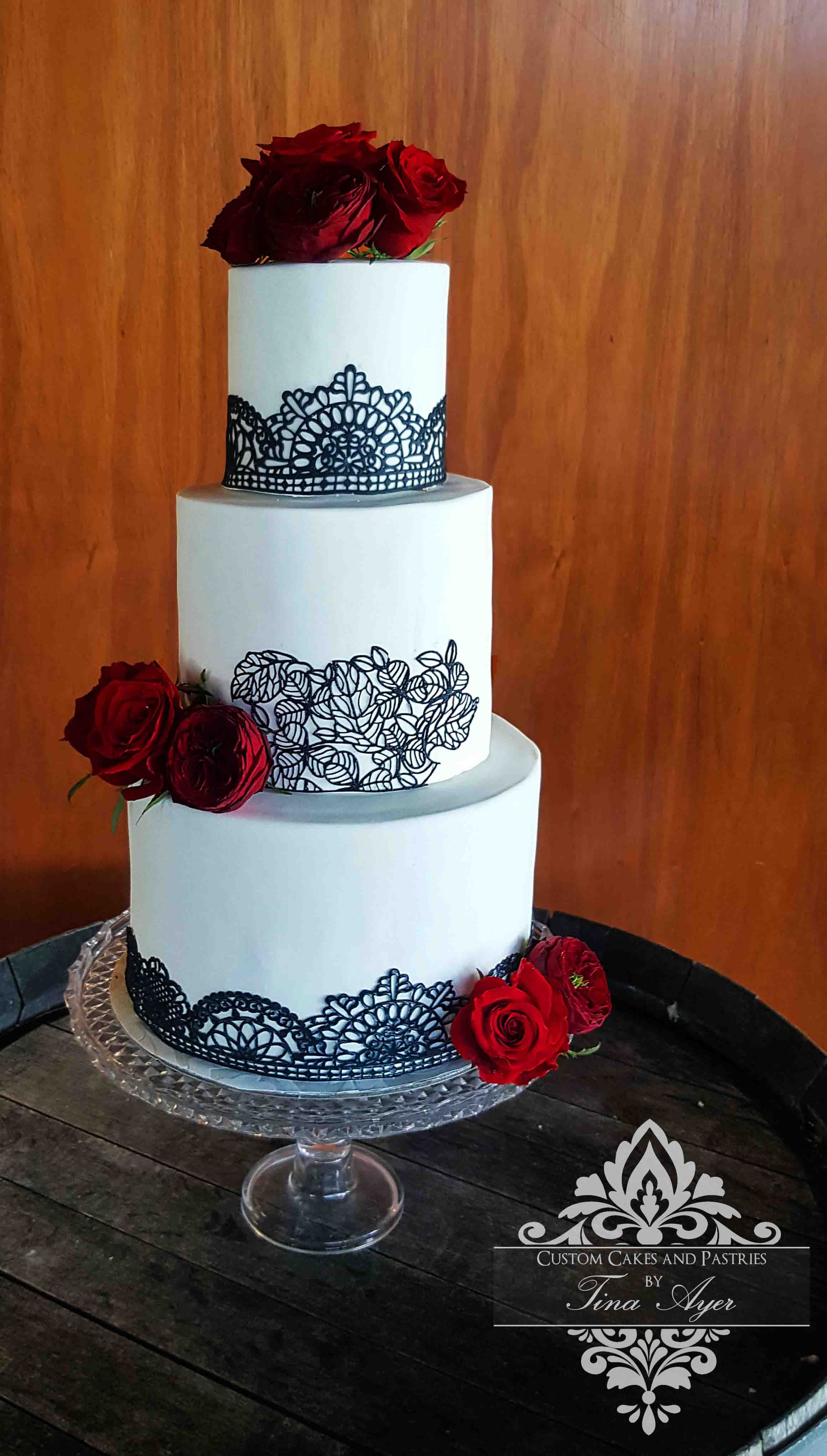 Black and white baby mobile designed and made in australia by tina - White Wedding Cake With Black Lace And Deep Red Roses Custom Cakes By Tina Ayer