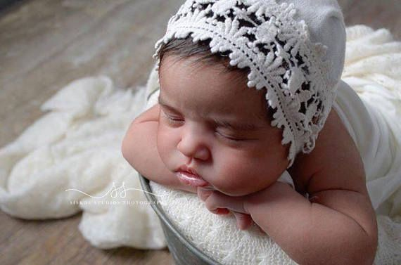 Newborn cream lace bonnet and wrap set newborn photography props baby lace and fabric