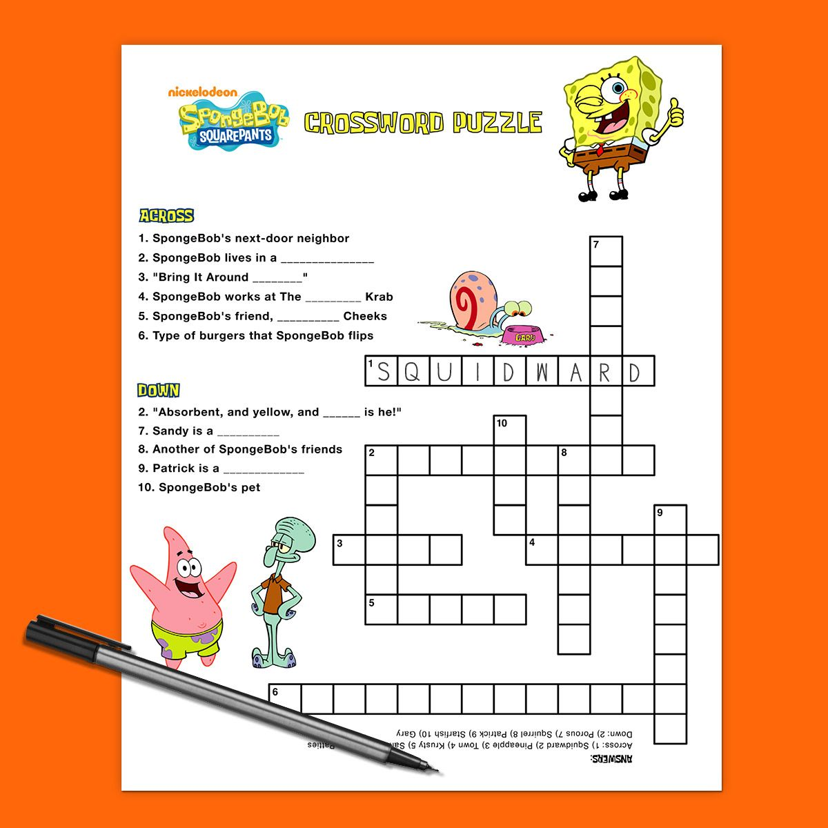 Spongebob Crossword Puzzle With Images