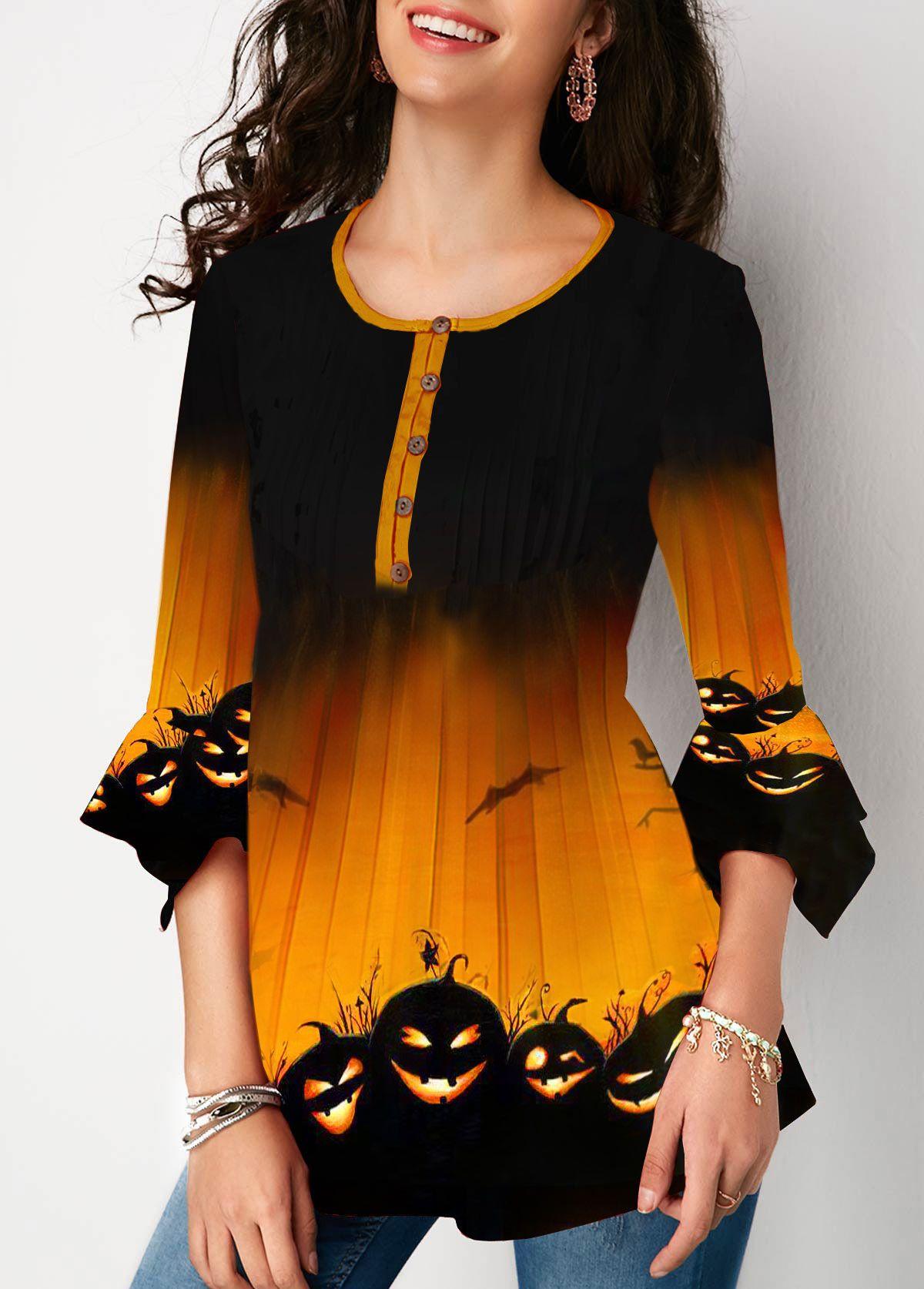 Button Front Halloween Pumpkin Print Flare Cuff Blouse