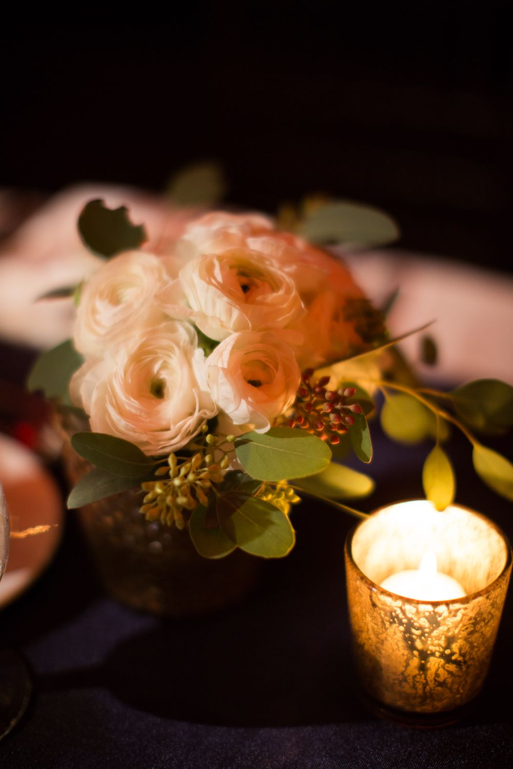 Candles, Flowers & a Navy Table Runner - Kate Rose Photography #aldencastle #weddings #modernvintage #navy #flowers