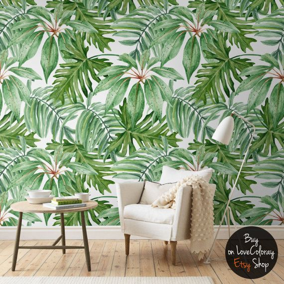 Light Banana Leaves Removable Wallpaper Banana Leaf