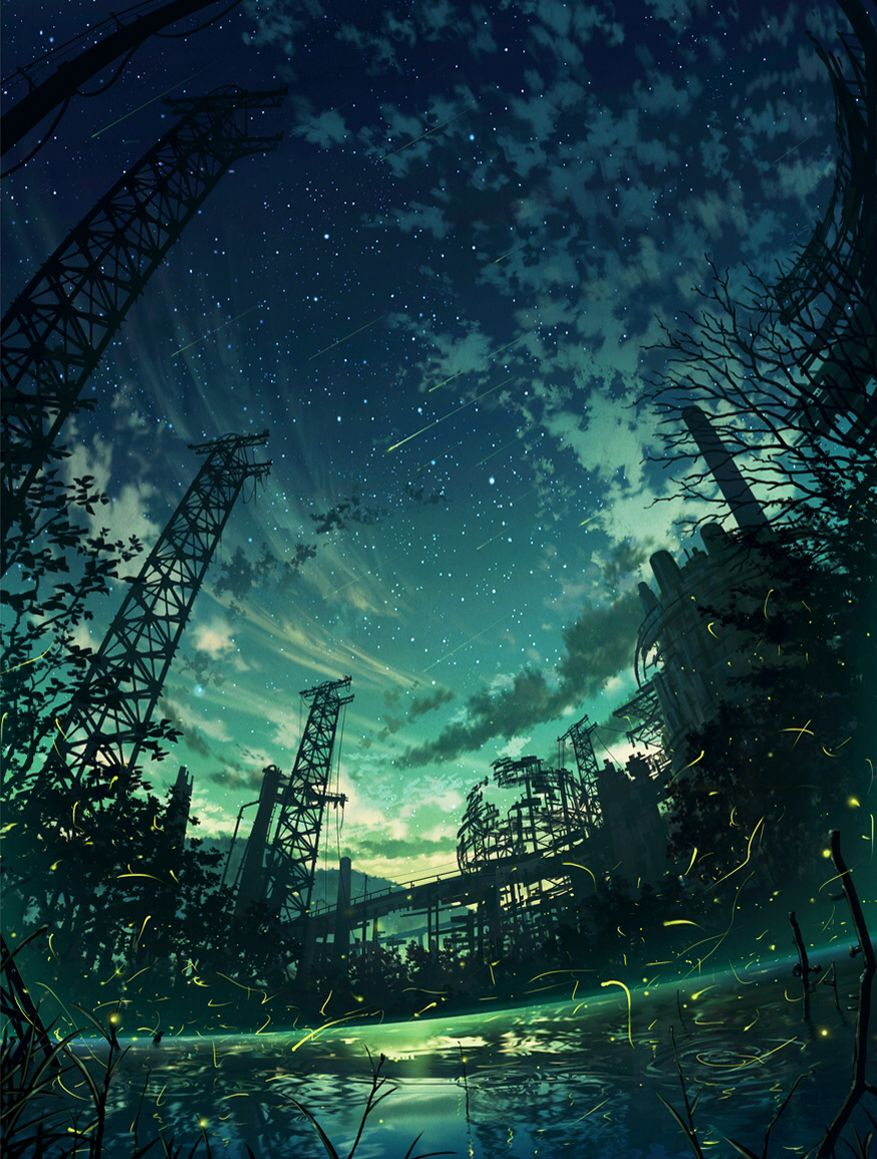 Manga Anime Background Stars Night Sky Fondos De Pantalla Paisajes Paisaje De Fantasia Ilustracion De Paisaje