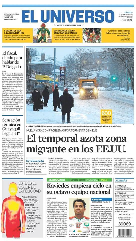 Portada De Diarioeluniverso Del 4 De Enero Del 2014 Las Noticias Del Día En Www Eluniverso Com Ecuador Playbill