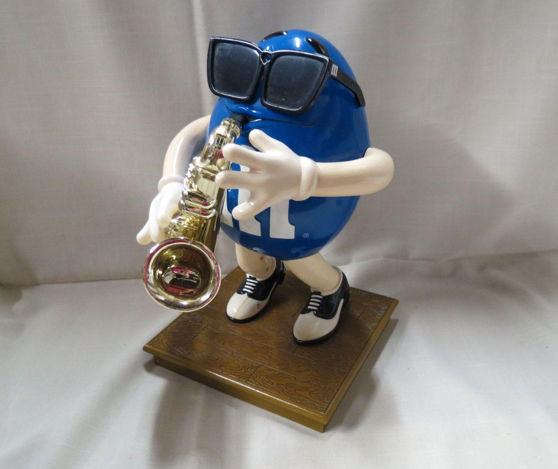 Vintage M&M Sax Saxophone Player Candy Mechanical Dispenser Mars Candy Blue by KansasKardsStudio on Etsy