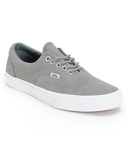 9b03766b8b3903 The Vans Era Monument Grey and True White hemp skate shoes are a classic  low-