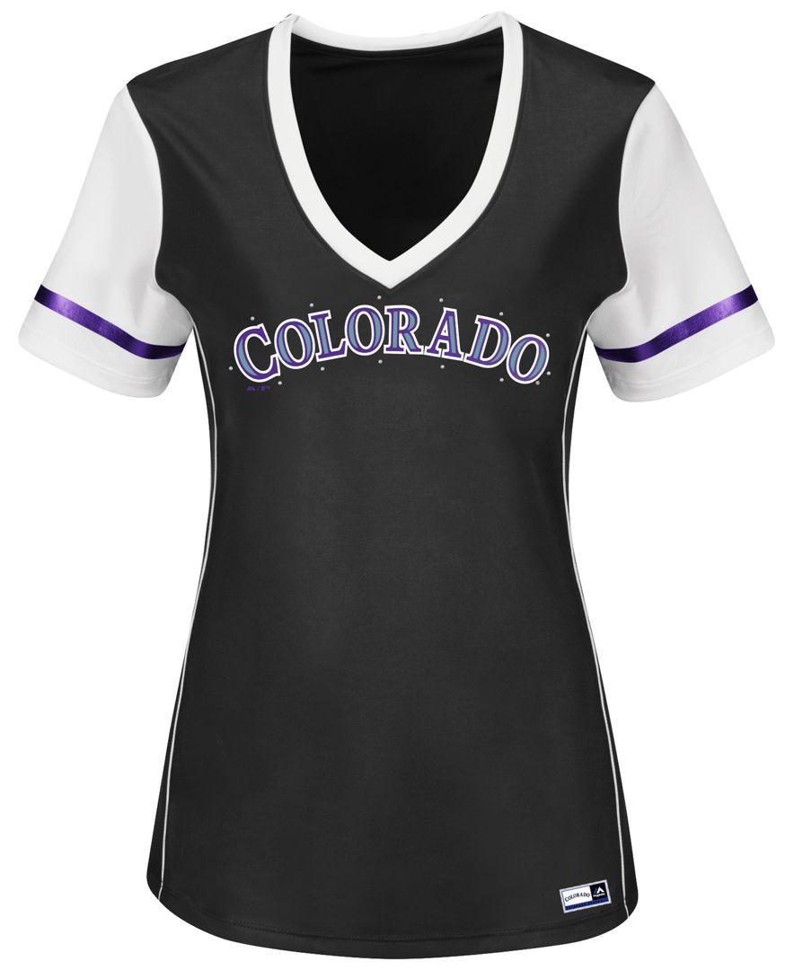 buy popular c9386 4af54 Majestic Women's Colorado Rockies Curveball T-Shirt ...