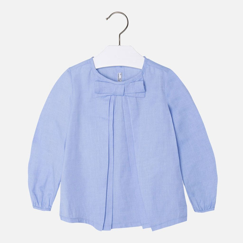 Blouse w/ Front Bow Blue