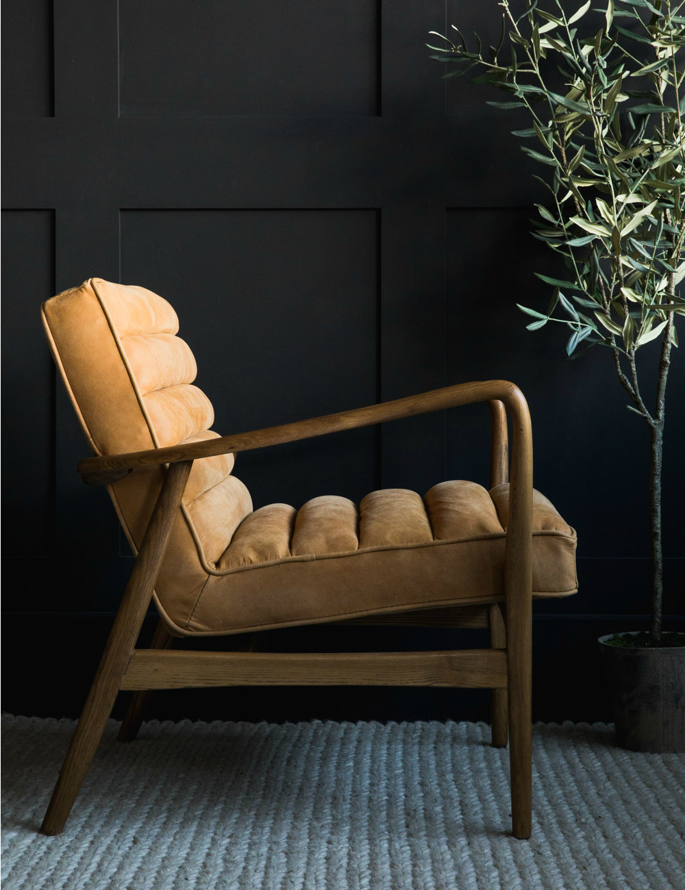 Mid Century Leather Armchair At Rose Grey