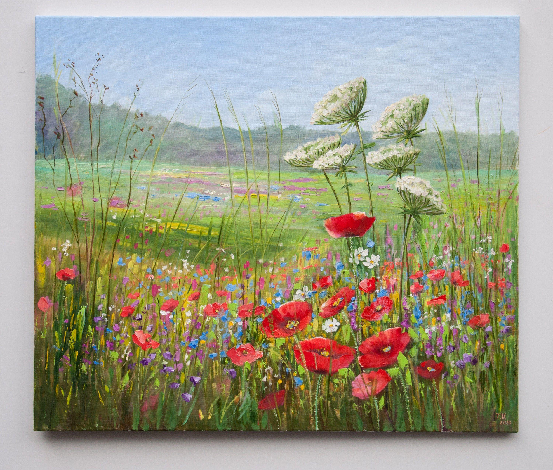Artvysochynska Summer Flowers Field Oil Painting Original Painting On Canvas Oil Paint In 2020 Poppy Painting Original Landscape Painting Oil Painting Landscape