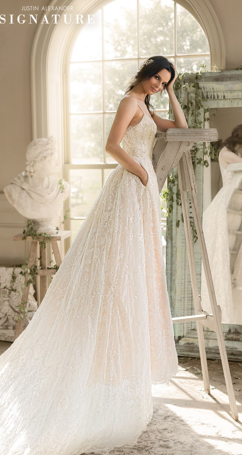 Dramatic wedding dresses  Style  Chantilly Lace Ball Wedding Dress with Dramatic