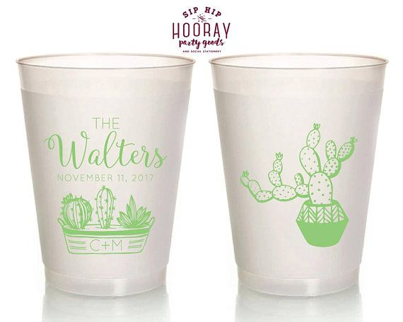 Plastic Cups Wedding Cactus 16oz Personalized Frosted Cup Favors Succulent Party