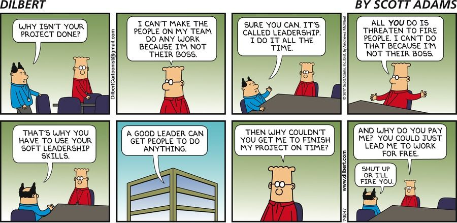 Boss Why isn't your project done? Dilbert I can't make