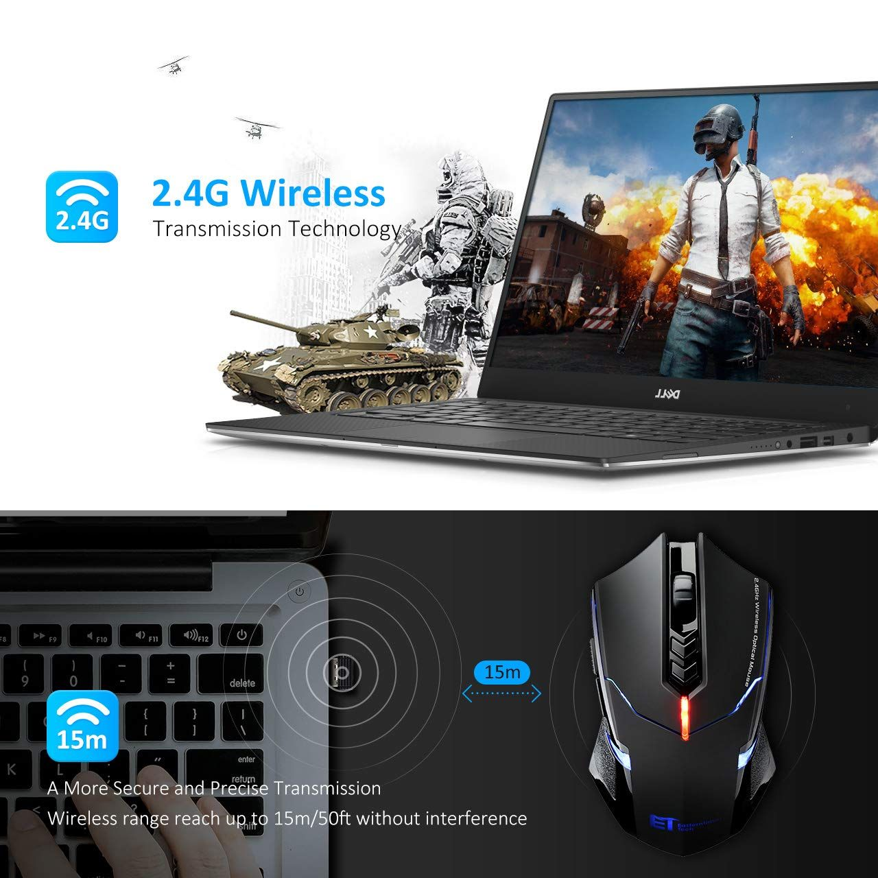 78226a35d07 VicTsing Wireless Gaming Mouse with Unique Silent Click, Breathing Backlit,  2 Programmable Side Buttons, 2400 DPI, Ergonomic Grips, 7-Button Design-  Black ...