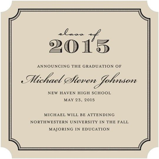 brown square ticket formal graduation announcements Party planning