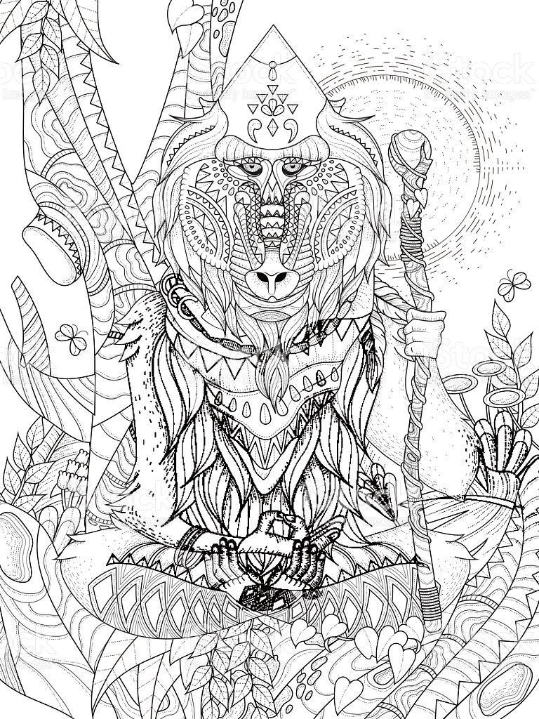 wisdom elder baboon crossed-legged in tree - adult coloring page ...