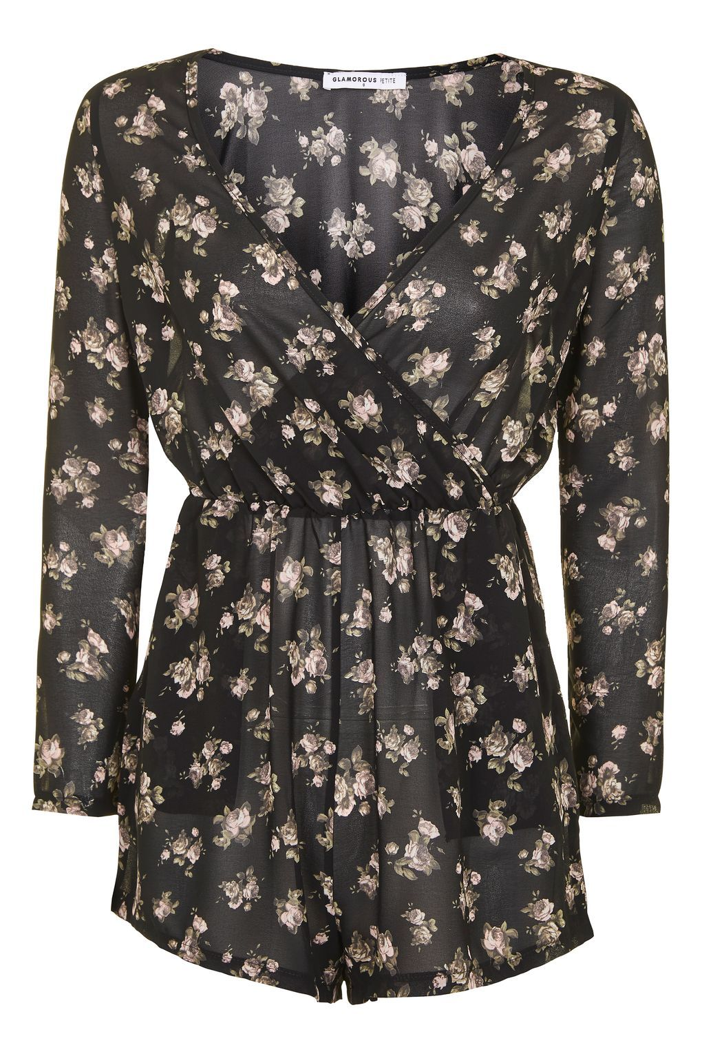 3fdcd9300c   Floral Wrap Front Playsuit by Glamorous Petites