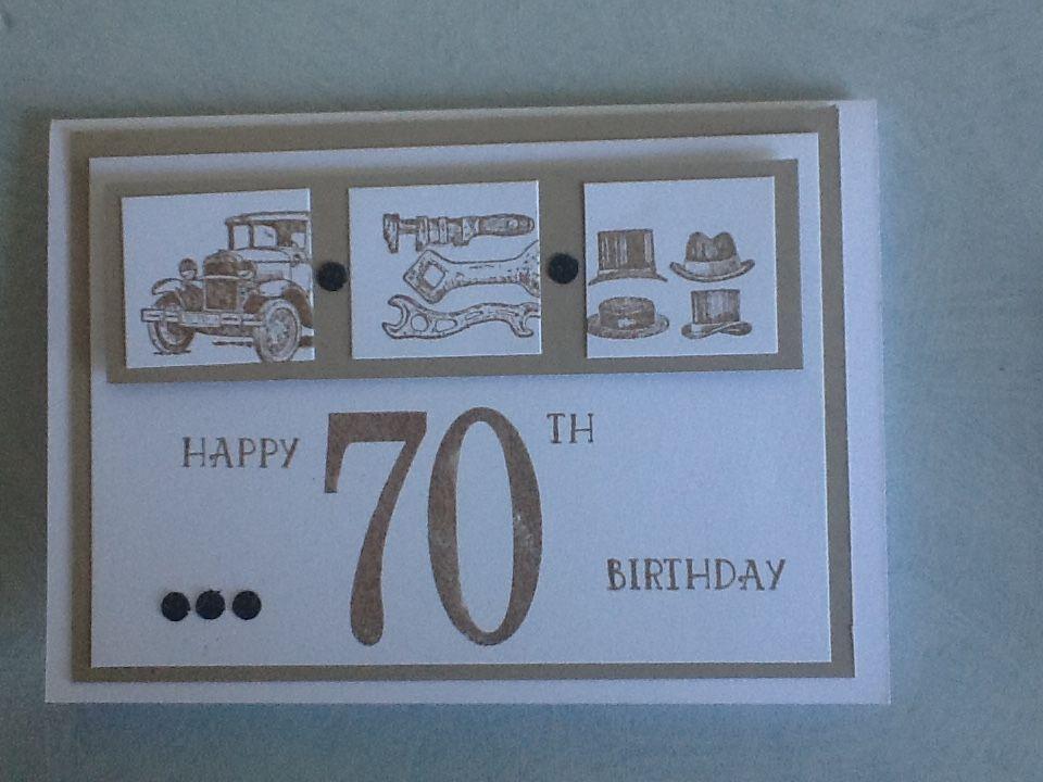 Guy greetings, 70th Man card, crumb cake Happy 70