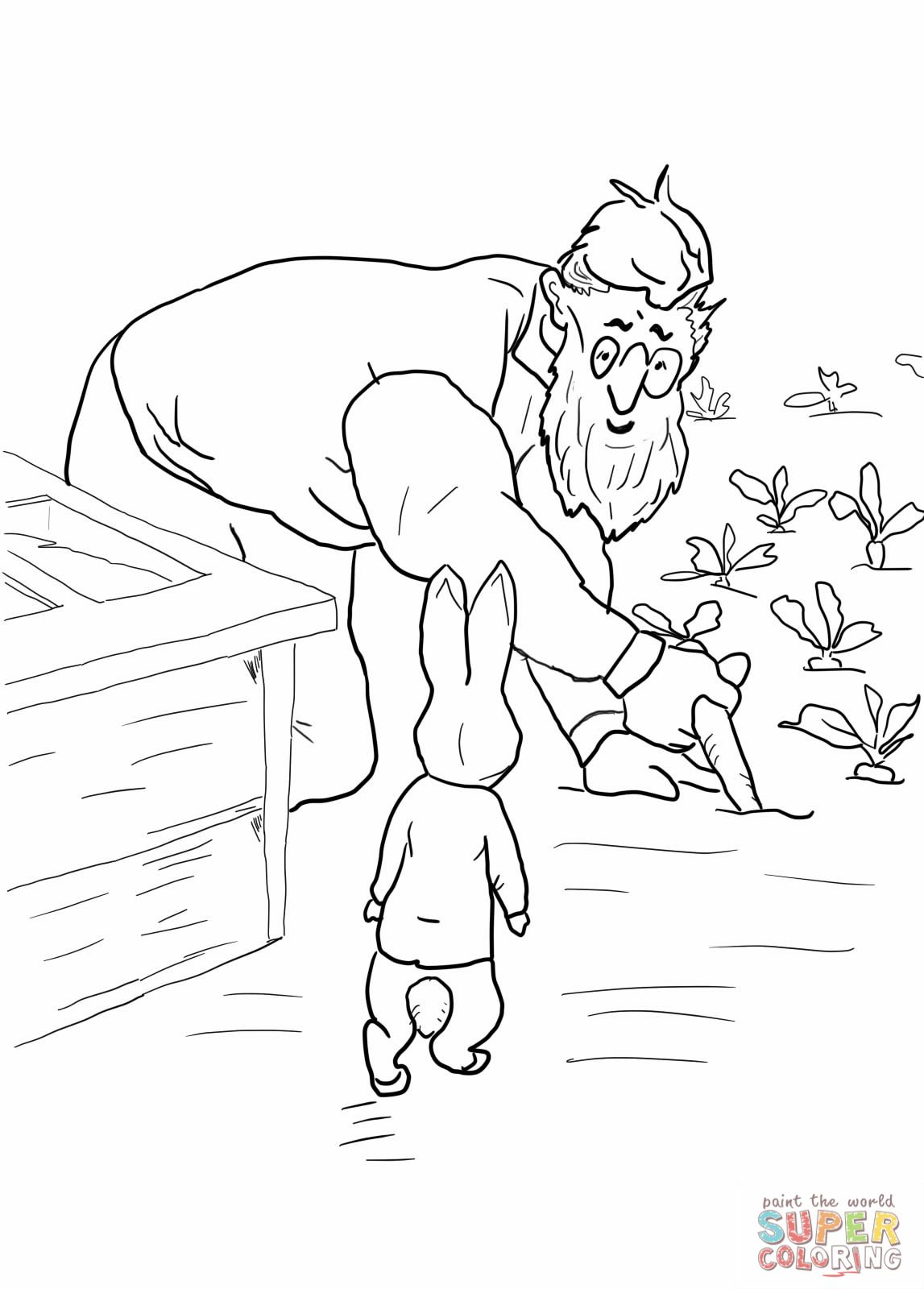 Peter Rabbit is Spotted by mr Mcgregor Coloring Online