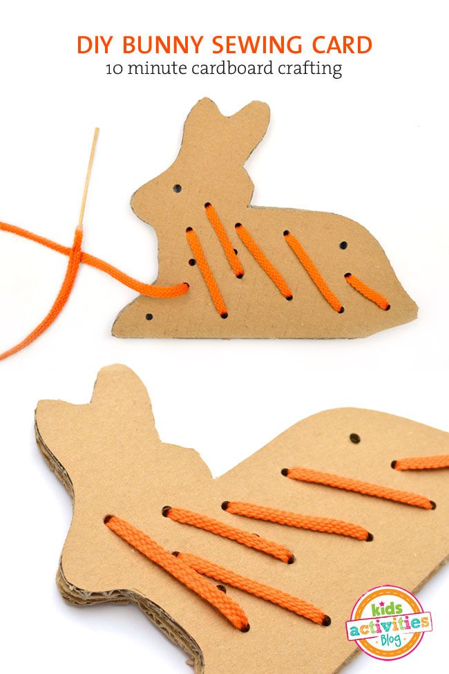 FREE PRINTABLE: CARDBOARD BUNNY LACING CARD TEMPLATE | Sewing cards ...