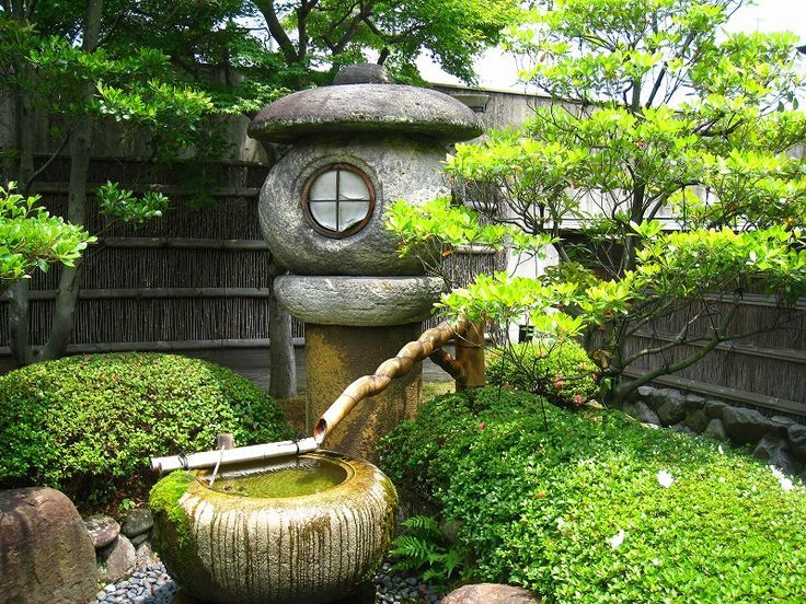 Stone Water Basin With Bamboo Drip Fountain And Japanese Stone Lantern Great Design Ideas For Water Fea Japanese Garden Lanterns Japan Garden Japanese Garden