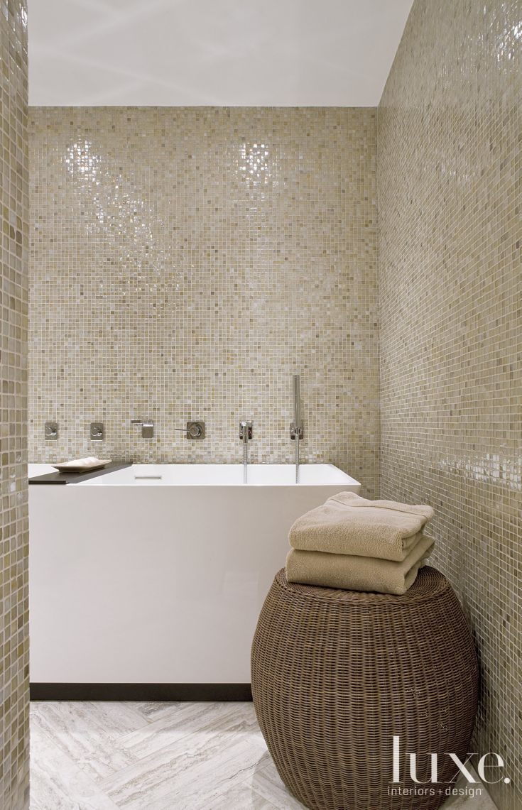Modern Neutral Master Bathroom 2: Contemporary Master Bathroom With Neutral Tilework
