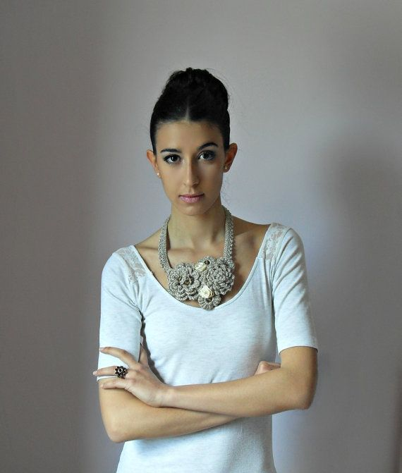 Crocheted Necklace Mink Beige Grey Gray Champagne by Silvia66, $113.00