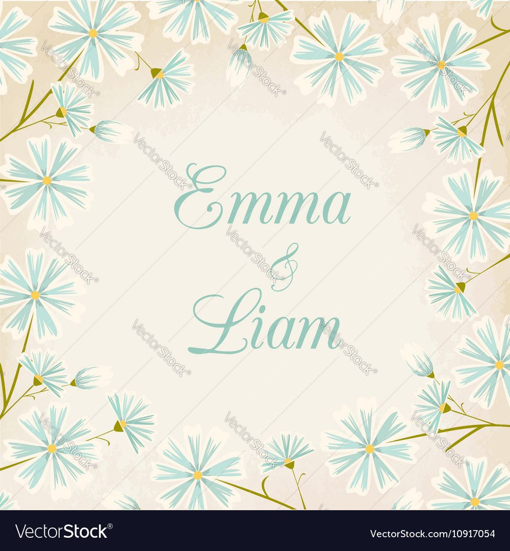 Elegant blue daisy flowers round border wedding invitation card wedding invitation card template vintage paper background download a free preview or high quality adobe illustrator ai eps pdf and high resolution jpeg stopboris Image collections