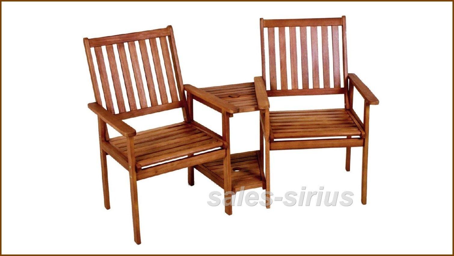 Garten Bank Holz Doppel Relax Liebes Sessel 2er Loveseat Paar Tisch ...