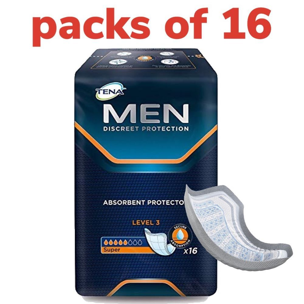 Details About Tena Men Level 3 Absorbent Protector Pack Of 16 Guards For Man Incontinence Incontinence Absorbent Men