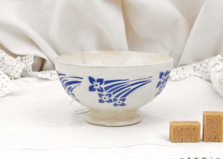 antique french farmhouse ceramic café au lait coffee bowl / french