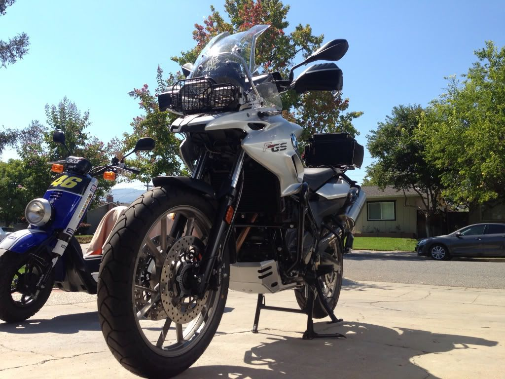 Sw Motech Engine Guards And F800gs Oem Touring Windshield On The F700gs Touring Engineering Guard [ 768 x 1024 Pixel ]