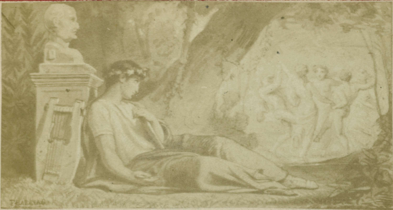Anonymous | Fotoreproductie naar illustratie van Quinti Horatii Flacci Carminum, god met lier bij muzen, Anonymous, 1855 |