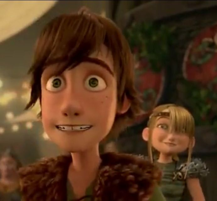 Look how happy Astrid is when she shows Hiccup, Toothless coming in the great hall
