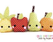 Toy Sewing Pattern - Kawaii Mini Fruit Pattern - Baby Toys, Party Favors - PDF Pattern