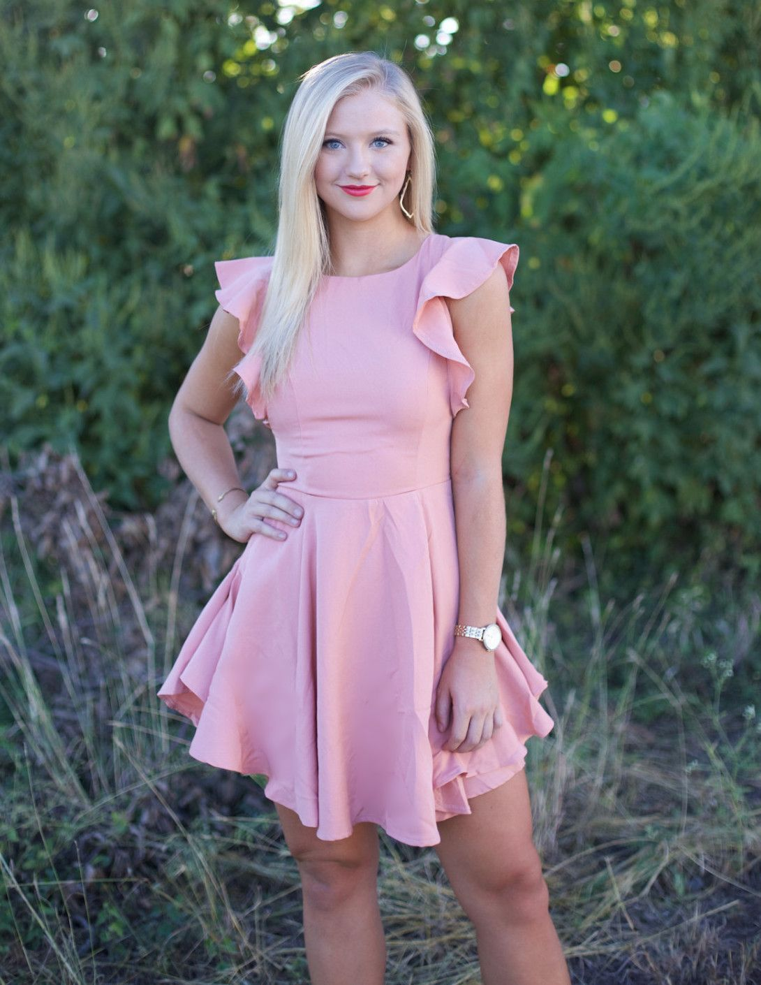 Derby Day Fit and Flare Dress, Blush