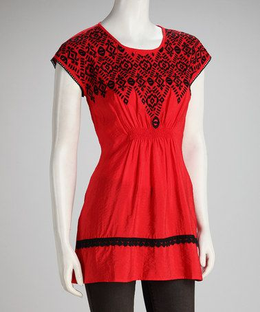Take a look at this Red Embroidered Shirred Top by Blue Plate on #zulily today!