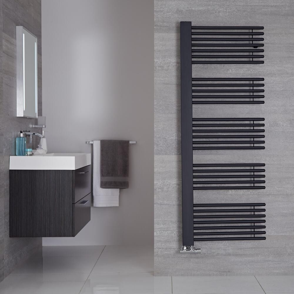 Bosa Anthracite Hydronic Designer Towel Warmer 63 X 23 5 Manufactured From Carbon Steel This In 2020 Towel Warmer Bathroom Model Heated Towel Warmer