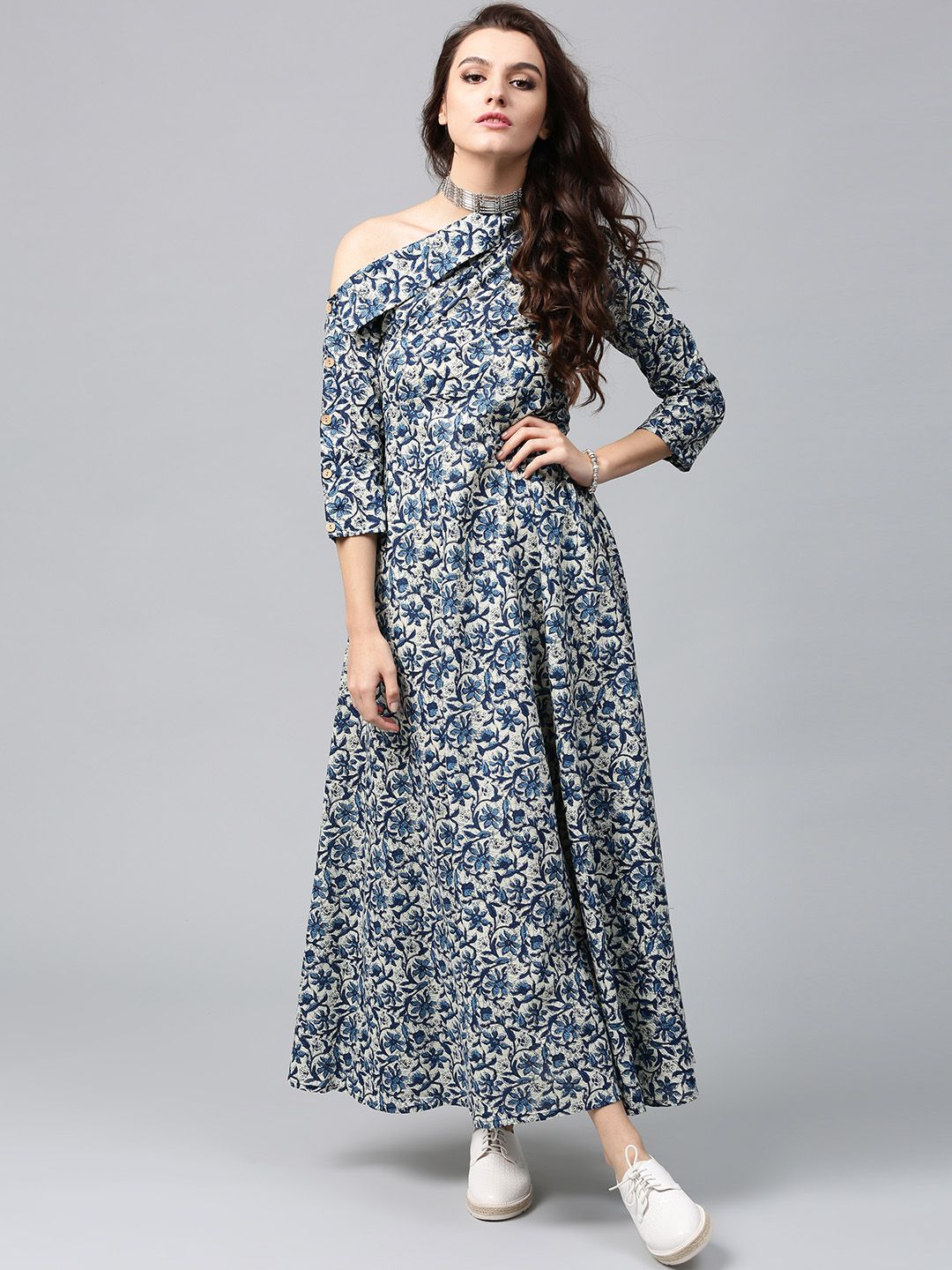 35481064c2d AKS Blue Printed One-Shoulder Flared Kurta  Blue  Printed  One-Shoulder   Flared  Kurta