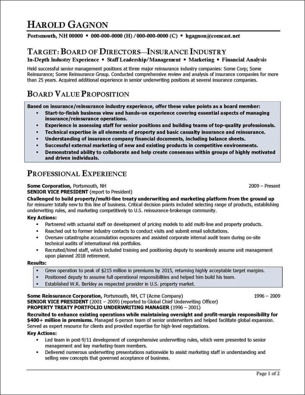 Example Of A Resume Written For An Insurance Industry Executive To