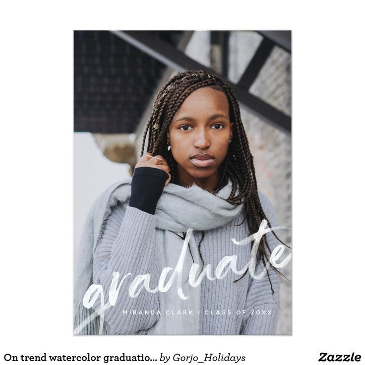 Trendy watercolor graduation photo announcement |  On trend watercolor graduation photo announcement